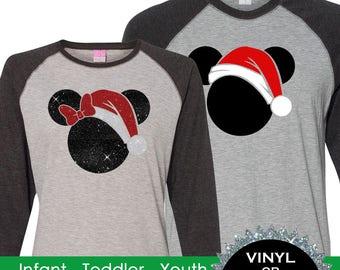 Family Christmas Mickey Santa Shirts Vintage 3/4 sleeve raglans - Mickey's Very Merry Christmas BD865 SHOWN BLACK-GREY /black-white-red