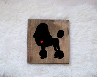 Hand Painted Poodle Silhouette on Stained Wood, Dog Decor, Dog Painting, Gift for Dog People, New Puppy Gift, Housewarming Gift