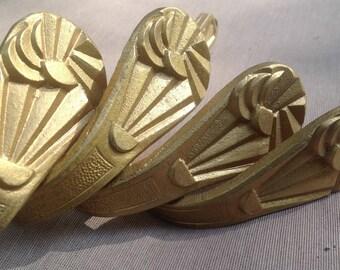 Set of 4 metal pieces, little art deco curtain holders