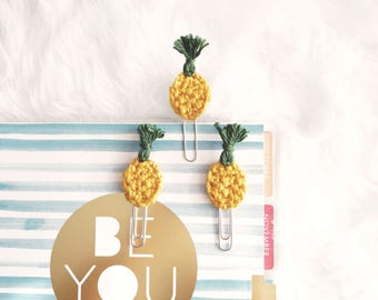 3 crochet pineapple clips | tropical fruit | bookmark | bookmarker | paper clips | planner clips | organizing tab | planner accessories