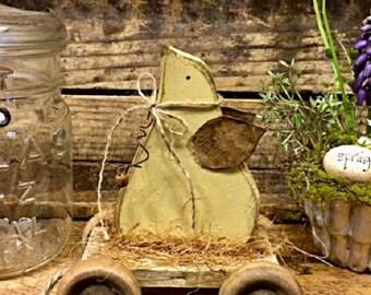 "Primitive Spring Folk Art Chick ""Chick Wagon"" Adorable Handmade Wood Home decor Item"
