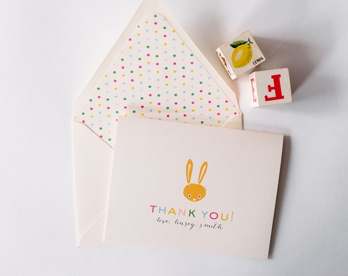 personalized baby shower thank you cards +  lined envelopes (sets of 10)  // yellow bunny boy girl gender neutral baby shower thank you card