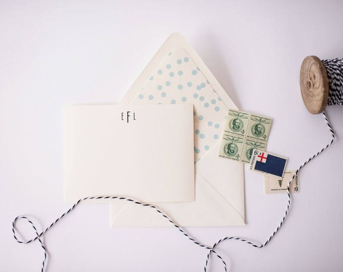 personalized monogram notecard set (set of 10) // flat stationery, personalized stationery card set, personalized christmas gift present