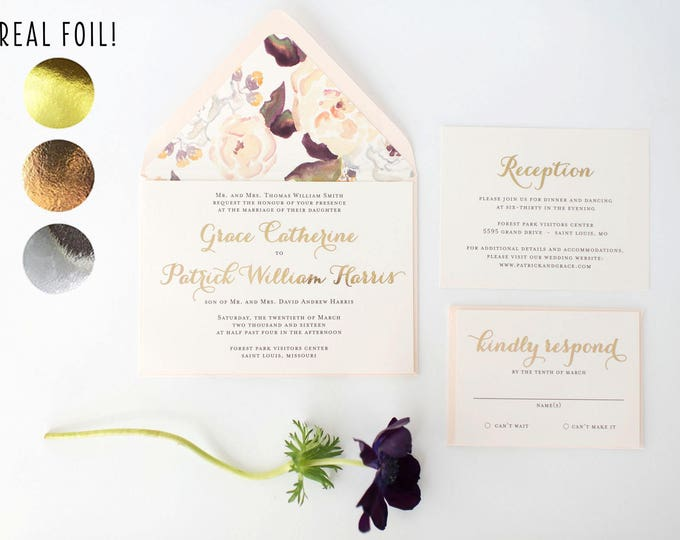 grace gold foil wedding invitation sample //  rose gold foil / silver foil / blush / watercolor floral / calligraphy / custom / invite
