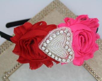 SALE Valentines headbands, heart headband, rhinestone headbands, valentines photo prop, valentines hair accessory pink and black headband