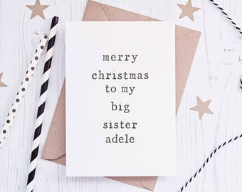 Christmas Sibling Card, Personalised Card, Brother Christmas Card, Sister Christmas Card, Card for Sibling, Xmas Card, Brother Xmas Card