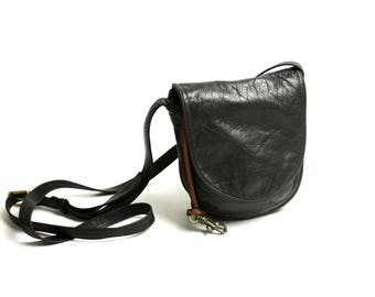 Vintage 80's 90's Small Black Disstressed Leather Bag Cross Body Messenger // Mini Satchel Leather Bag