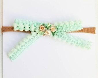 Neutral floral & Bauble bow. Headband or hair clip