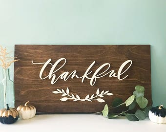 Thanksgiving Wood Sign - Thankful - fall home decor - housewarming gift - FREE SHIPPING - Ships anywhere in USA