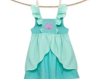 Smocked Little Mermaid Ariel Flutter Sleeve Dress