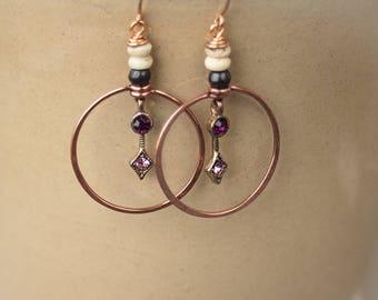 Tribal queen bronze hoop earrings Reclaimed glass and bone Luxury upcycled jewellery Boho Luxe Primitive princess hoops Purple earring gift
