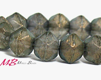 10mm Dark Smokey Grey Glass Beads, 12 pcs English Cut Czech Beads