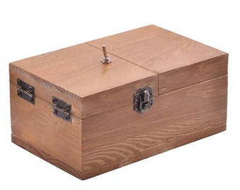 Turns Itself Off Useless Box Surprises Most Leave Me Alone Machine in Real Wood, hand made