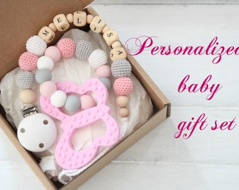 Personalized girl baby gift set - pacifier clip with teething toy - beads are safe for teething