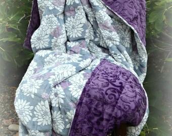 Double Minky Weighted Blanket 7-20 lbs-Mar Bella Cuddle Ibiza Violeta Minky/Purple Vine Minky