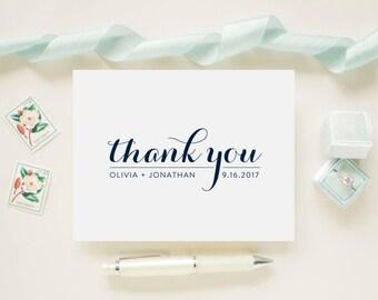 Custom Color Personalized Newlywed Wedding Thank You Cards, Bridal Shower,  Wedding Cards - Monogram Wedding Date