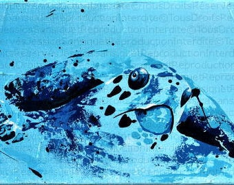 Modern painting of a sea turtle 60x20cm