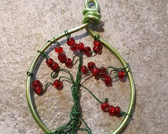 Keychain/Pendant Red Tree
