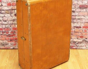 "Vtg Shwayder SAMSONITE 29"" Cognac Wardrobe Trunk Large Travel Suitcase Luggage"