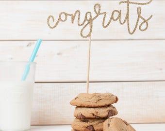Congrats Cake Topper, Glitter Congrats Cake Topper, Graduation Cake Topper, Gold Glitter Cake Topper