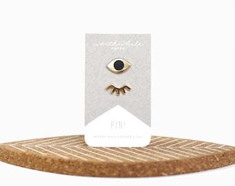 Winky Eyes Enamel Pin Set // Hard Enamel Cloisonné