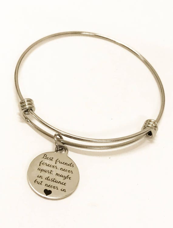 Best Friends Bracelet, Stacking Bracelet, Best Friends Jewelry, Bracelet Gift, Friend Moving Gift, BFF Gift, Never Apart, BFF Bracelet