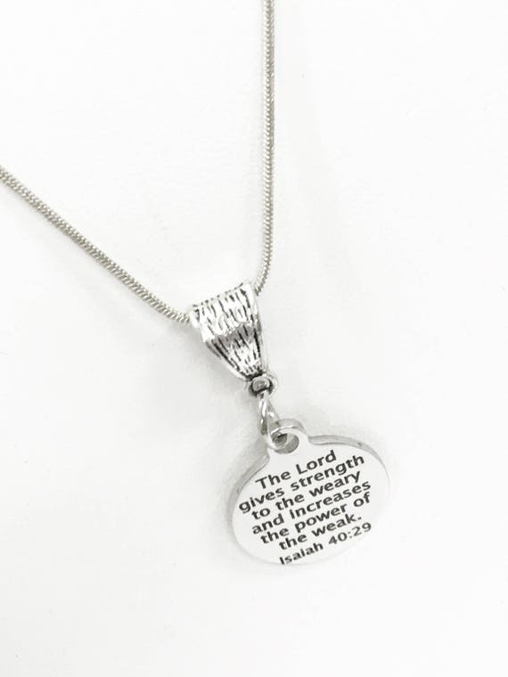 Scripture Jewelry, Isaiah 40 29 Scripture Gifts, The Lord Gives Strength Necklace, Scripture Necklace, Christian Jewelry, Christian Necklace