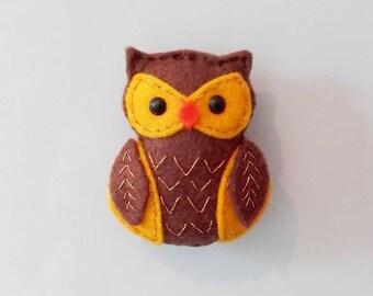 Owl Magnet, Handmade Brown Owl Magnet, Owl Gift, Felt Stuffed Owl Magnet, Woodland Animals