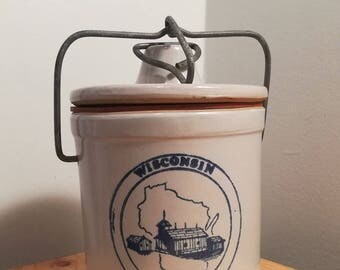 Wisconsin Homestead Sharp Cheddar Cheese Crock with Locking Lid, vintage stoneware crock