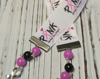 Bookmark, Breast Cancer Awareness Bookmark,  Ribbon and Bead Bookmark, Fancy Bookmark