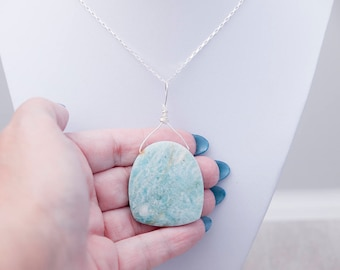 Sterling Silver Amazonite Necklace ~ Silver Blue Stone Pendant ~ Large Stone Pendant Necklace ~ Blue Stone Summer Necklace ~ Gift for Her