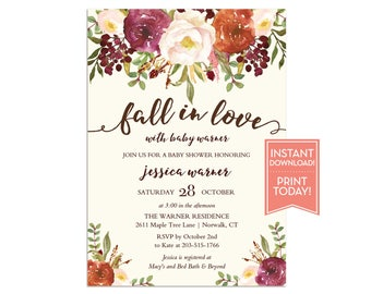 Fall Baby Shower Invitation - Fall in Love Baby Shower Invite - Editable Instant Download Invitation - LR1086