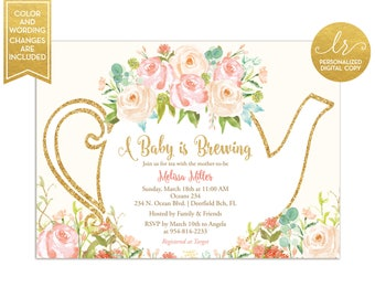 Baby Shower Tea Party Invitation - A Baby is Brewing - Garden Tea Party - Gender Neutral Invitation - Greenery Invite - Printable - LR1050N