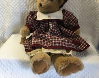 Springford Plush Bear in Plaid Dress and Hat, Springford Inc, Dressed Girl Bear, Bear Doll