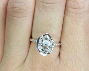 Herkimer Diamond Ring Quartz Crystal- Sterling Silver