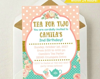 Tea For Two Birthday Invitation Invite 2nd Party