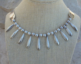Vintage Mexican Sterling Silver 14.5 Inch Choker Necklace with Beads and Dangles in Front - 50 Grams