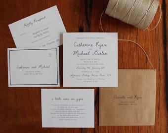 Modern Black & White Printed Wedding Invitation Set