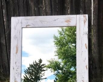 Mirror, Whitewash Wood, Wood Frame Mirror, White Wood Mirror, Bathroom Mirror, Wall Mirror, Vanity Mirror, Small Mirror, Large Mirror