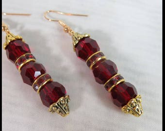RED CRYSTAL EARRINGS Victorian FiLIGREE earrings RUbY Earrings Steampunk Victorian Earrings