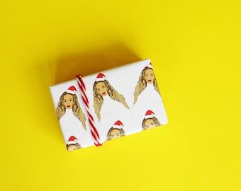 Beyonce Wrapping Paper...Beyonce Christmas Gift...Funny Gift Wrap...Funny Wrapping Paper...Holiday Gift Wrap...Funny Beyonce Gift