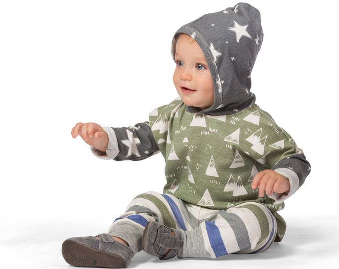 Baby Boy Outfit, Baby Boy Long Sleeve Hoodie, Baby Boy Leggings, Mountains, Stars, Stripes, TesaBabe