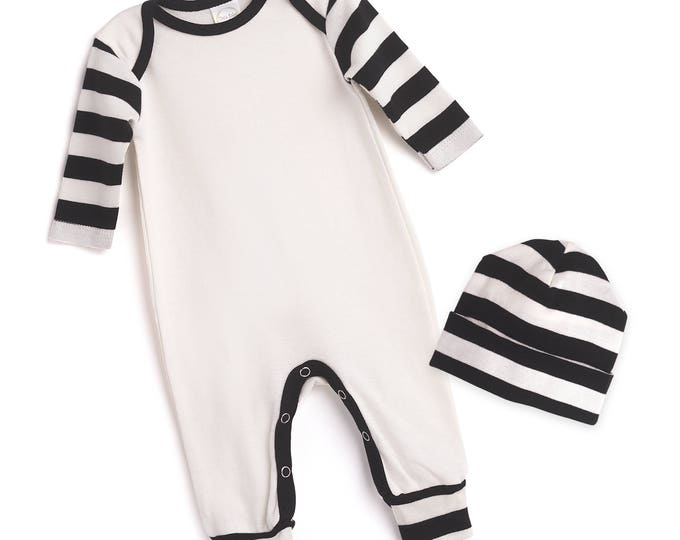 Newborn Boy Coming Home Outfit, Newborn Boy Black White Romper, Baby Come Home Outfit Boy, Baby Boy Hat, Black Stripe, TesaBabe