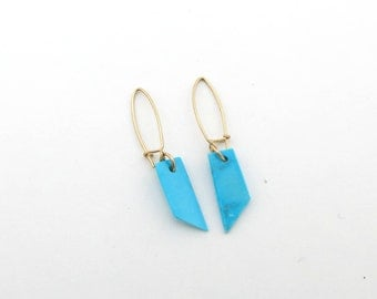 Turquoise and 14k Gold Earrings ~ Natural Turquoise 14k Yellow Gold Earrings