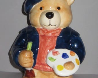 artist bear cookie jar