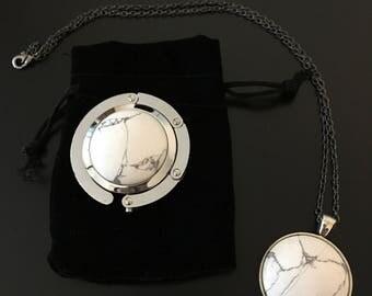 Set - Purse Hanger & Necklace - White Howlite Gem