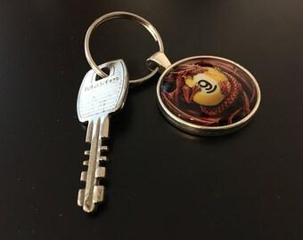 Key Chain (9 Ball) -Dragon Image under glass dome.