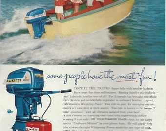 evinrude boat motor  watersking advertising 1950s downloads