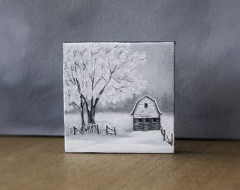 Barn Painting, Winter Landscape, Black And White Art, Miniature Canvas Painting, Country Landscape, Farmhouse Decor, Snow Painting, Barn Art