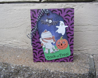 Halloween Card, Trick of Treat Card, Halloween Tag,Pumpkin Card,Ghost Card, Monkey Card, Mummy Cards, Bats and Ghosts, Childs Halloween Card